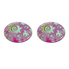 Raspberry Lime Surprise, Abstract Sea Garden  Cufflinks (Oval)