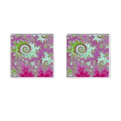 Raspberry Lime Surprise, Abstract Sea Garden  Cufflinks (square)