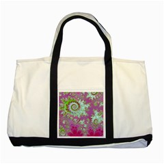 Raspberry Lime Surprise, Abstract Sea Garden  Two Toned Tote Bag