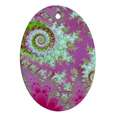 Raspberry Lime Surprise, Abstract Sea Garden  Oval Ornament (two Sides)