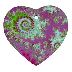Raspberry Lime Surprise, Abstract Sea Garden  Heart Ornament (Two Sides)