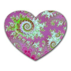 Raspberry Lime Surprise, Abstract Sea Garden  Mouse Pad (Heart)
