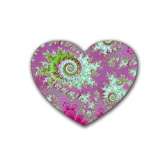 Raspberry Lime Surprise, Abstract Sea Garden  Drink Coasters 4 Pack (Heart)