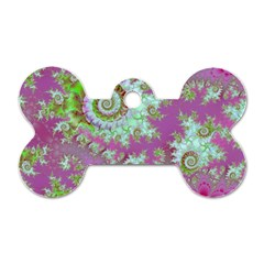 Raspberry Lime Surprise, Abstract Sea Garden  Dog Tag Bone (One Sided)