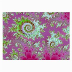 Raspberry Lime Surprise, Abstract Sea Garden  Glasses Cloth (Large, Two Sided)