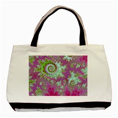 Raspberry Lime Surprise, Abstract Sea Garden  Twin-sided Black Tote Bag