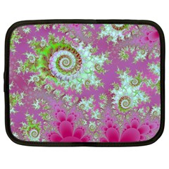 Raspberry Lime Surprise, Abstract Sea Garden  Netbook Sleeve (large)