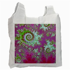 Raspberry Lime Surprise, Abstract Sea Garden  White Reusable Bag (Two Sides)