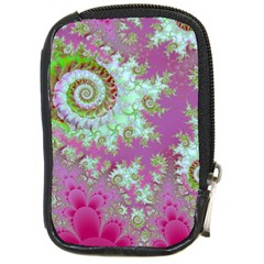 Raspberry Lime Surprise, Abstract Sea Garden  Compact Camera Leather Case