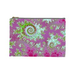 Raspberry Lime Surprise, Abstract Sea Garden  Cosmetic Bag (Large)