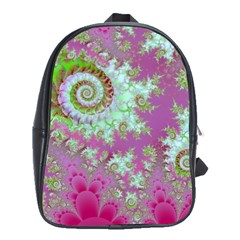 Raspberry Lime Surprise, Abstract Sea Garden  School Bag (Large)