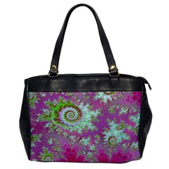 Raspberry Lime Surprise, Abstract Sea Garden  Oversize Office Handbag (one Side)