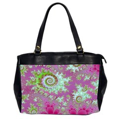 Raspberry Lime Surprise, Abstract Sea Garden  Oversize Office Handbag (two Sides)