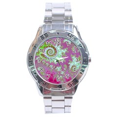 Raspberry Lime Surprise, Abstract Sea Garden  Stainless Steel Watch