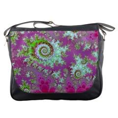 Raspberry Lime Surprise, Abstract Sea Garden  Messenger Bag