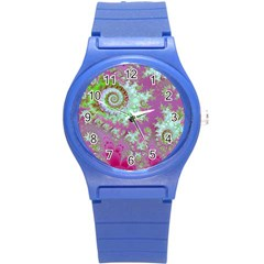 Raspberry Lime Surprise, Abstract Sea Garden  Plastic Sport Watch (Small)