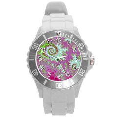 Raspberry Lime Surprise, Abstract Sea Garden  Plastic Sport Watch (Large)