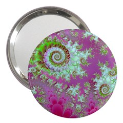 Raspberry Lime Surprise, Abstract Sea Garden  3  Handbag Mirror