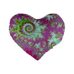 Raspberry Lime Surprise, Abstract Sea Garden  16  Premium Heart Shape Cushion