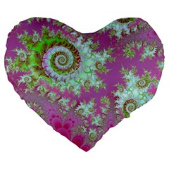 Raspberry Lime Surprise, Abstract Sea Garden  19  Premium Heart Shape Cushion
