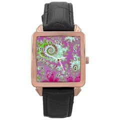 Raspberry Lime Surprise, Abstract Sea Garden  Rose Gold Leather Watch