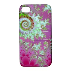 Raspberry Lime Surprise, Abstract Sea Garden  Apple iPhone 4/4S Hardshell Case with Stand