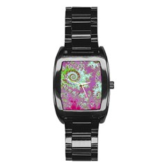 Raspberry Lime Surprise, Abstract Sea Garden  Stainless Steel Barrel Watch
