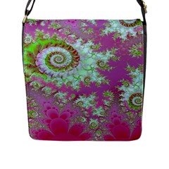 Raspberry Lime Surprise, Abstract Sea Garden  Flap Closure Messenger Bag (Large)
