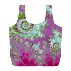 Raspberry Lime Surprise, Abstract Sea Garden  Reusable Bag (L)