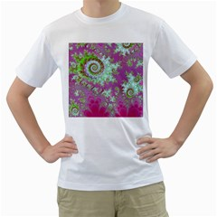 Raspberry Lime Surprise, Abstract Sea Garden  Men s T Shirt (white)