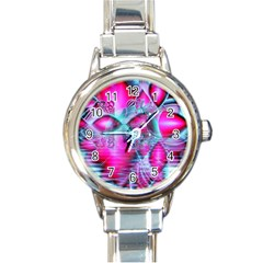 Ruby Red Crystal Palace, Abstract Jewels Round Italian Charm Watch