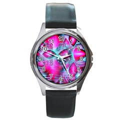 Ruby Red Crystal Palace, Abstract Jewels Round Leather Watch (silver Rim)