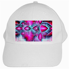 Ruby Red Crystal Palace, Abstract Jewels White Baseball Cap