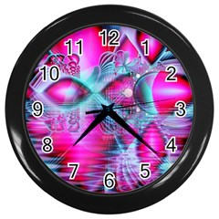 Ruby Red Crystal Palace, Abstract Jewels Wall Clock (Black)