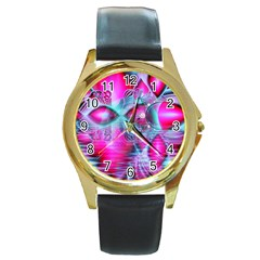 Ruby Red Crystal Palace, Abstract Jewels Round Leather Watch (Gold Rim)