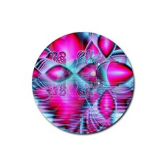 Ruby Red Crystal Palace, Abstract Jewels Drink Coaster (Round)