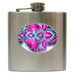 Ruby Red Crystal Palace, Abstract Jewels Hip Flask Front