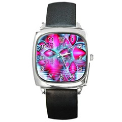 Ruby Red Crystal Palace, Abstract Jewels Square Leather Watch