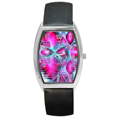 Ruby Red Crystal Palace, Abstract Jewels Tonneau Leather Watch