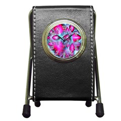 Ruby Red Crystal Palace, Abstract Jewels Stationery Holder Clock