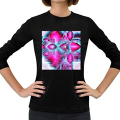 Ruby Red Crystal Palace, Abstract Jewels Women s Long Sleeve T-shirt (Dark Colored)
