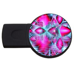 Ruby Red Crystal Palace, Abstract Jewels 4GB USB Flash Drive (Round)