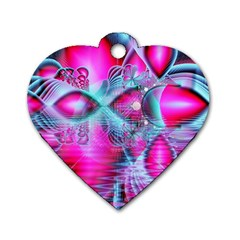Ruby Red Crystal Palace, Abstract Jewels Dog Tag Heart (One Sided)