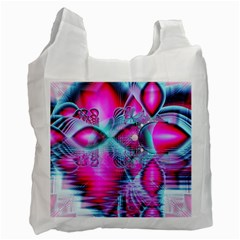 Ruby Red Crystal Palace, Abstract Jewels White Reusable Bag (one Side)