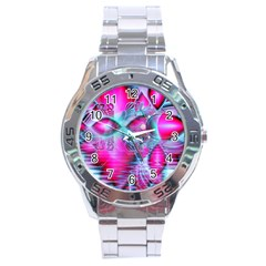 Ruby Red Crystal Palace, Abstract Jewels Stainless Steel Watch