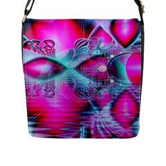Ruby Red Crystal Palace, Abstract Jewels Flap Closure Messenger Bag (Large)