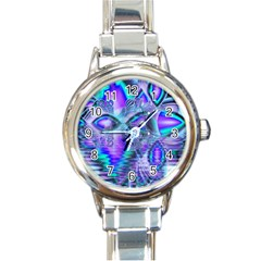 Peacock Crystal Palace Of Dreams, Abstract Round Italian Charm Watch