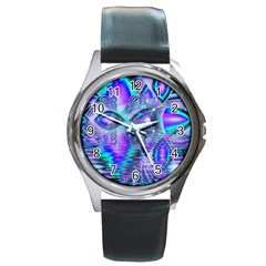 Peacock Crystal Palace Of Dreams, Abstract Round Leather Watch (silver Rim)