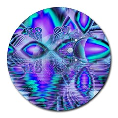 Peacock Crystal Palace Of Dreams, Abstract 8  Mouse Pad (round)