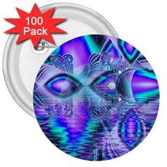 Peacock Crystal Palace Of Dreams, Abstract 3  Button (100 Pack)